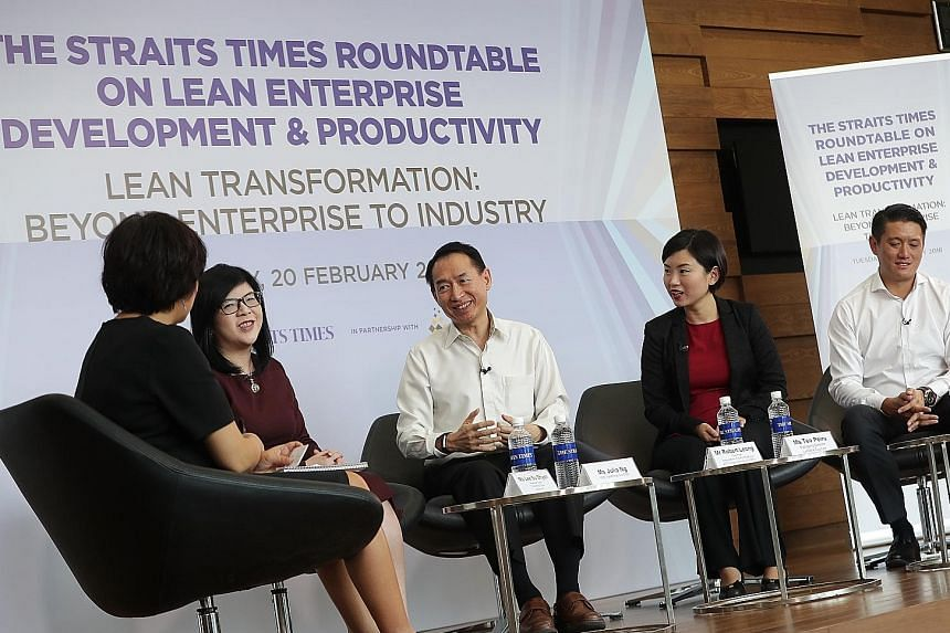 From left: Moderator and Straits Times business editor Lee Su Shyan, LED Taskforce co-chair Julia Ng, Association of Early Childhood and Training Services chairman Robert Leong, La Belle Couture managing director Teo Peiru, and Markono Print Media ma