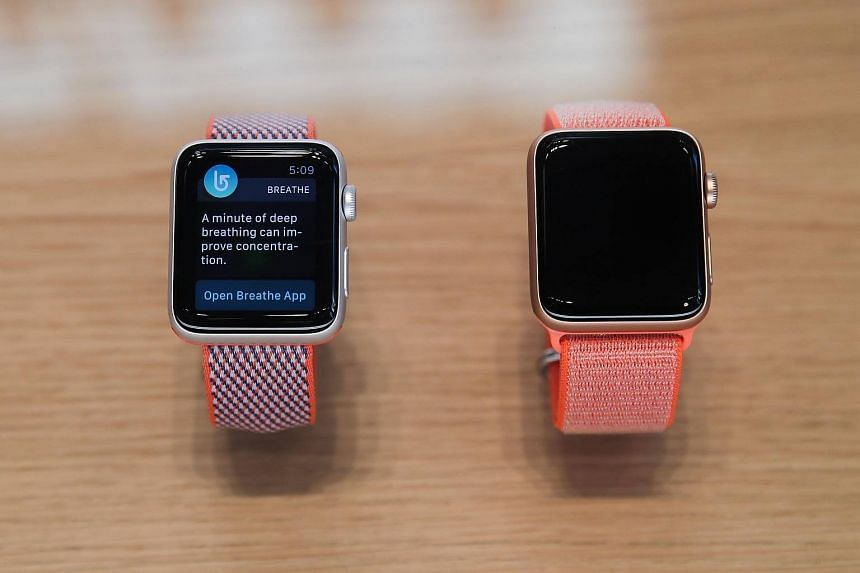 The Apple Watch Series 3 at the Fifth Avenue Apple Store in New York City, on Sept 22, 2017.