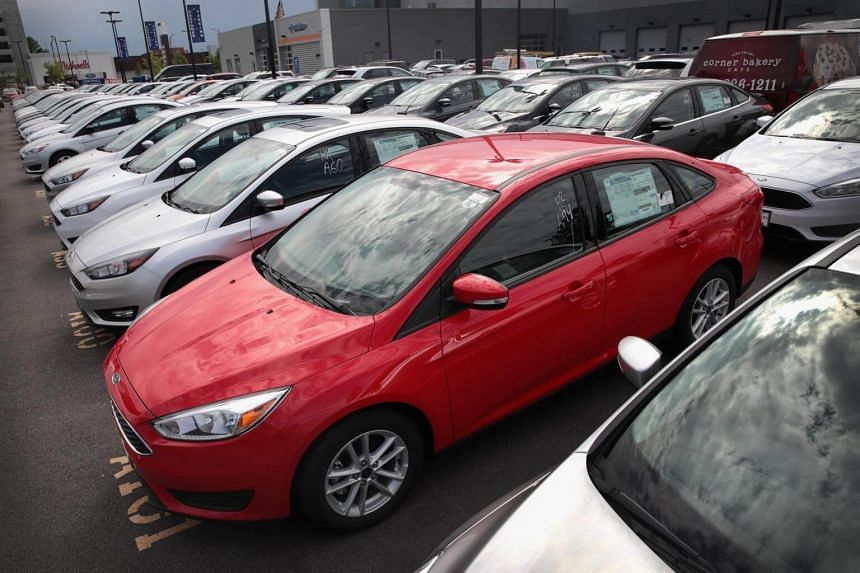 Ford compact cars for sale at a dealership in Chicago, Illinois on June 19, 2017.