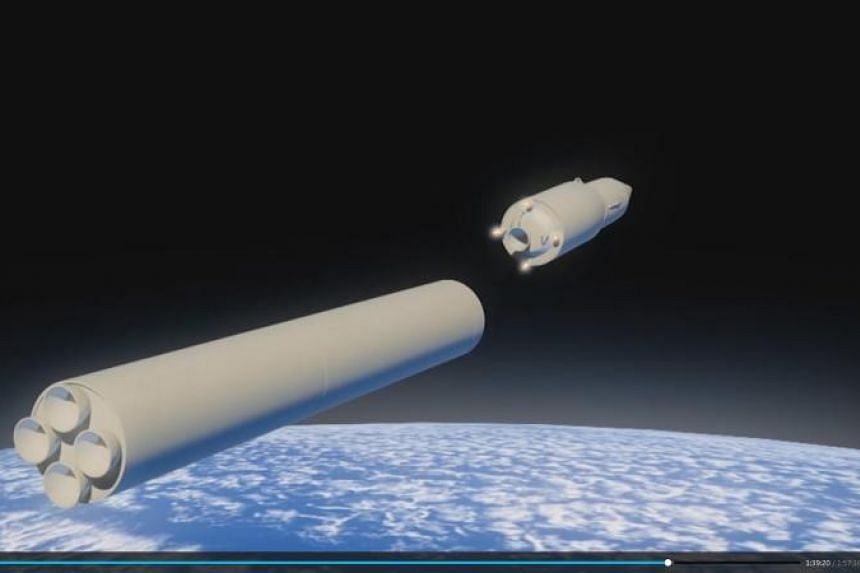 A computer simulation of Avangard hypersonic vehicle with a gliding hypersonic warhead being released from booster rocket in the video demonstrated on screens during Russian President Vladimir Putin's address in Moscow, Russia, March 1, 2018.
