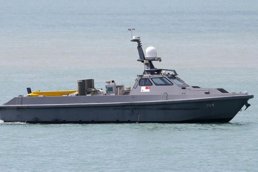 The Unmanned Surface Vessel can be fitted with different systems, or payloads, such as with a towed synthetic aperture sonar for sea mine detection.