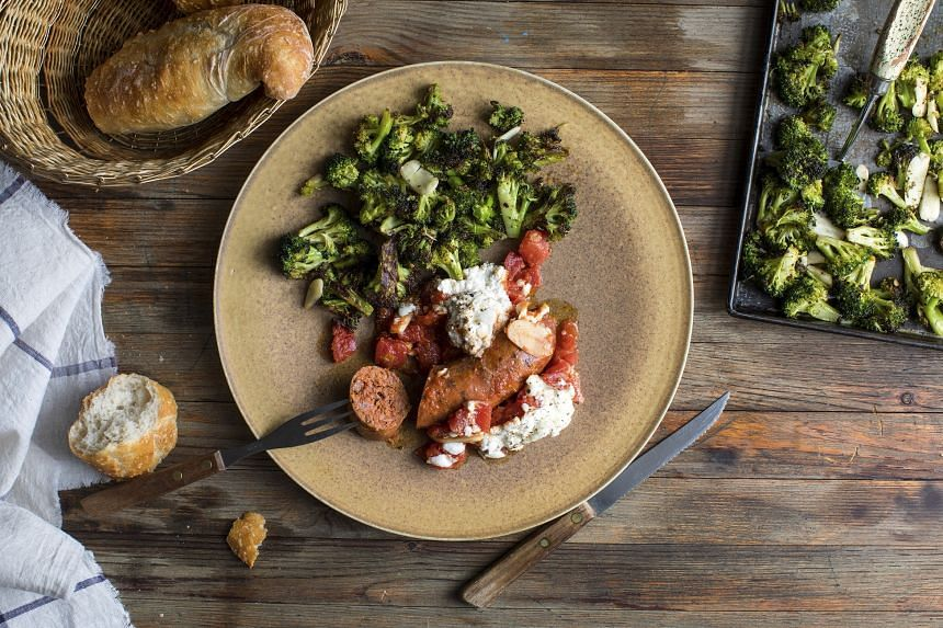 Sausage Parmesan paired with crisp, garlicky broccoli.