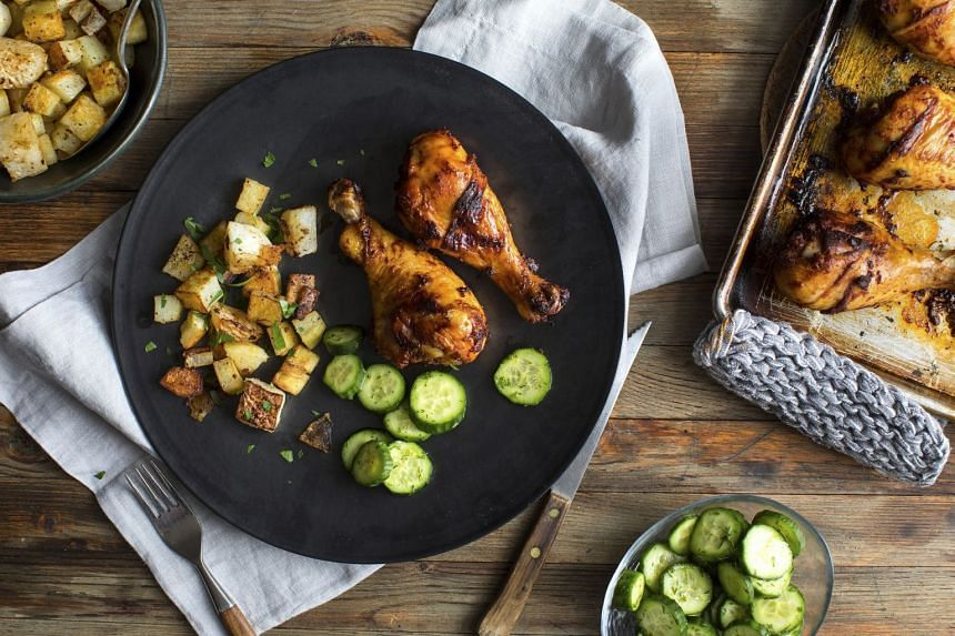 Roasted paprika chicken with potatoes and turnips.