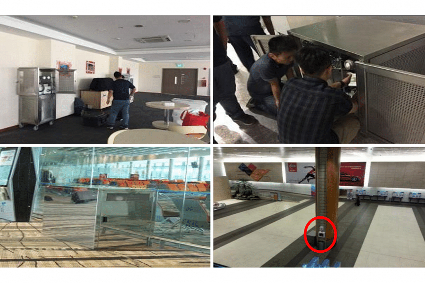 (Clockwise from left) Deployment of air sampling equipment at the National Day Parade VIP Reception Area in 2017, at strategic locations at the National Day Parade 2017 venue, at the Changi Airport Arrival Hall and at a Gatehold room at Changi Airpor