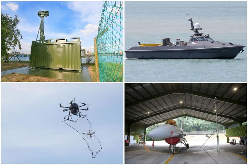 """(Clockwise from top left) SAF's Unmanned Watch Tower on Jurong Island, the Unmanned Surface Vessel, an automated aircraft inspection system and a counter-drone system that uses a """"drone-catcher"""" to take down errant drones."""
