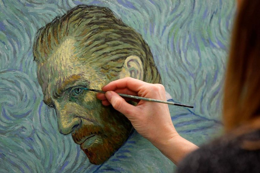 A painter recreating a Vincent van Gogh self-portrait at a film studio in the northern Polish city of Gdansk. Loving Vincent is the world's first animated feature film painted by hand.