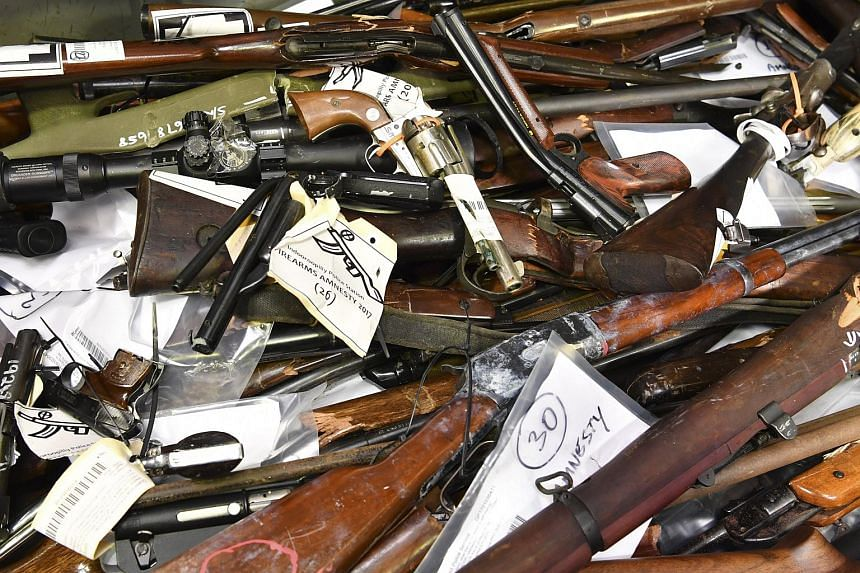 Confiscated firearms on display in Brisbane, Queensland, Australia, on Oct 12, 2017.