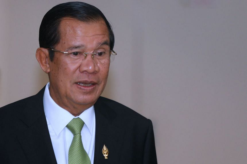 Cambodia's Prime Minister Hun Sen at the National Assembly of Cambodia during a plenary session in Phnom Penh on Feb 14, 2018.