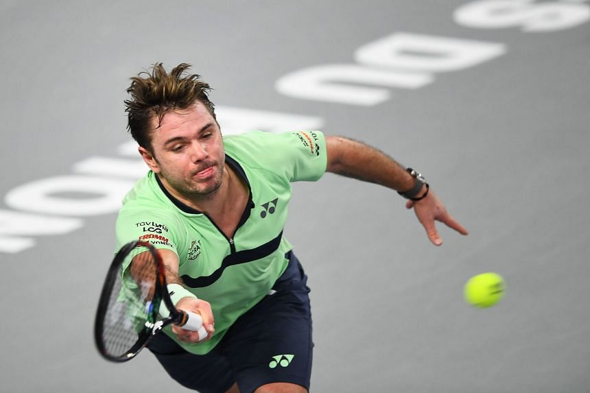 Wawrinka in action during the ATP Marseille Open on Feb 22, 2018.