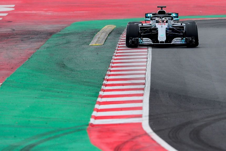 Hamilton in action at the Circuit de Catalunya on March 1, 2018 in Montmelo.