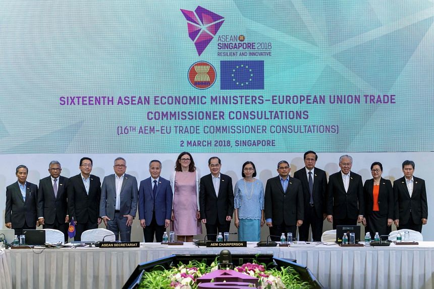 European Union Trade Commissioner Anna Cecilia Malmstrom (sixth from left) poses for a group photograph with economic ministers during the 24th Asean Economic Ministers' Retreat in Singapore on March 2, 2018.