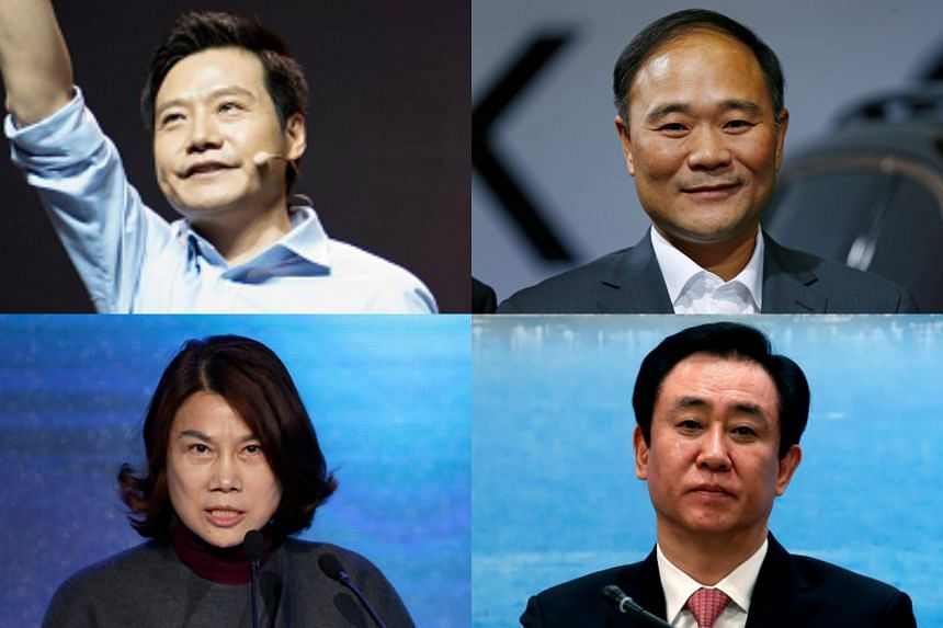 (Clockwise from left) Co-founder of smartphone maker Xiaomi, Lei Jun; Geely's founder and chairman, Li Shufu; chairman of Gree Electric Appliances of Zhuhai, Dong Mingzhu and founder of developer China Evergrande Group, Hui Ka Yan.
