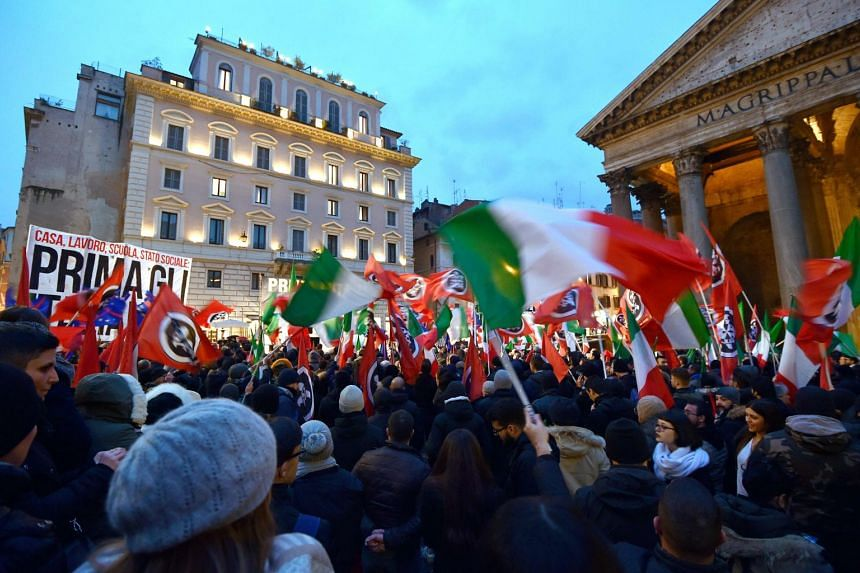 """At a rally in Rome on March 1, 2018, by the neo-fascist group CasaPound, supporter Alberto Palladini told AFP that traditional political parties """"are corrupted to the core""""."""