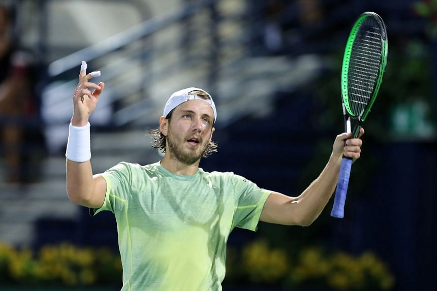 Pouille reacts during his semi-final match against Filip Krajinovic of Serbia.