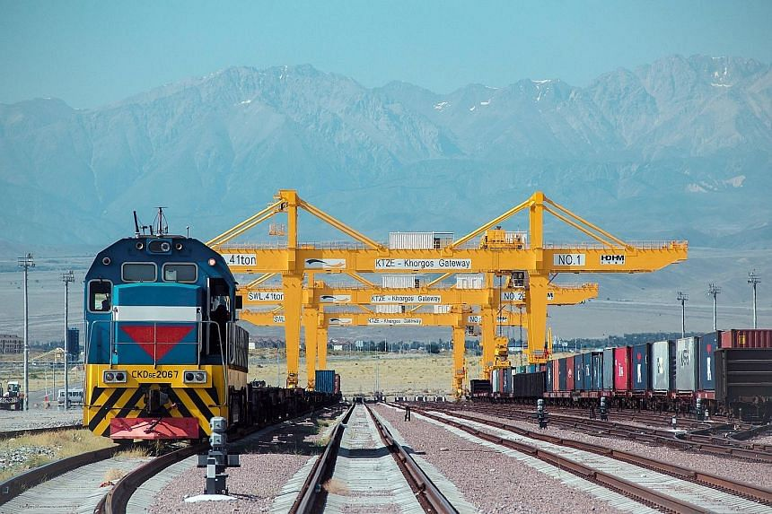 Kazakhstan's Khorgos East Gate, a dry container port next to the border with China, where Chinese trains will unload containers for transhipment to Central Asia and Europe.