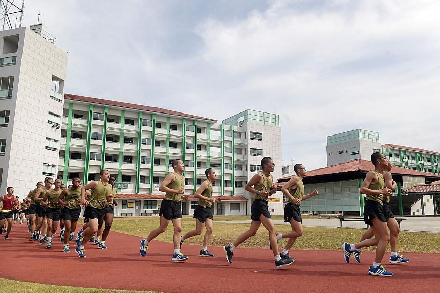 Recruits at the Basic Military Training Centre on Pulau Tekong, where almost all combat-fit full-time national servicemen will enlist together.