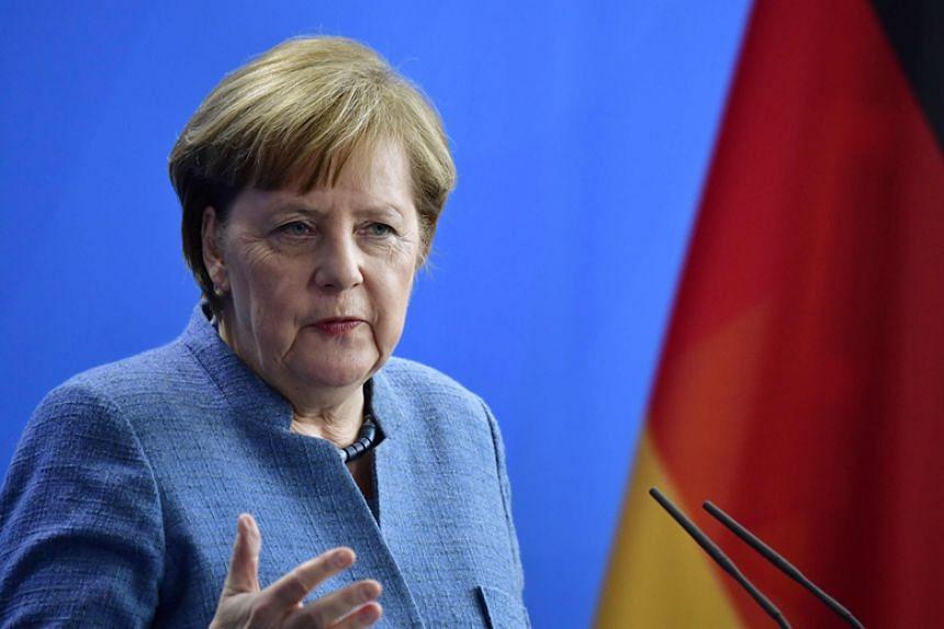 German Chancellor Angela Merkel speaks at a press conference in Berlin on Feb 27, 2018.