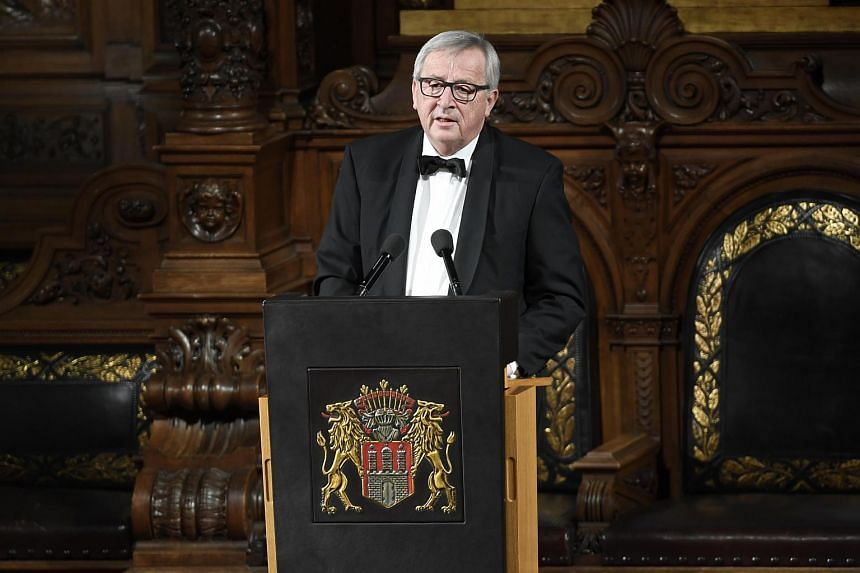 European Commission President Jean-Claude Juncker delivers a speech in Hamburg, Germany on March 2, 2018.