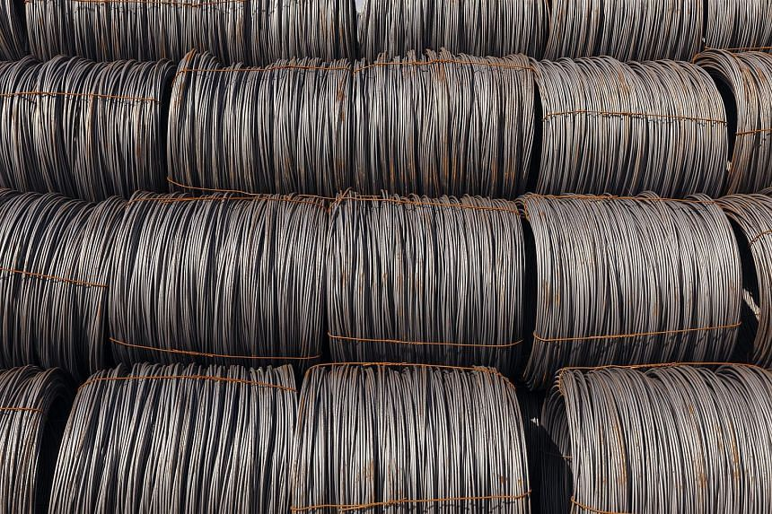 Bales of imported raw steel at Insteel Wire Products in Houston on March 2, 2018.