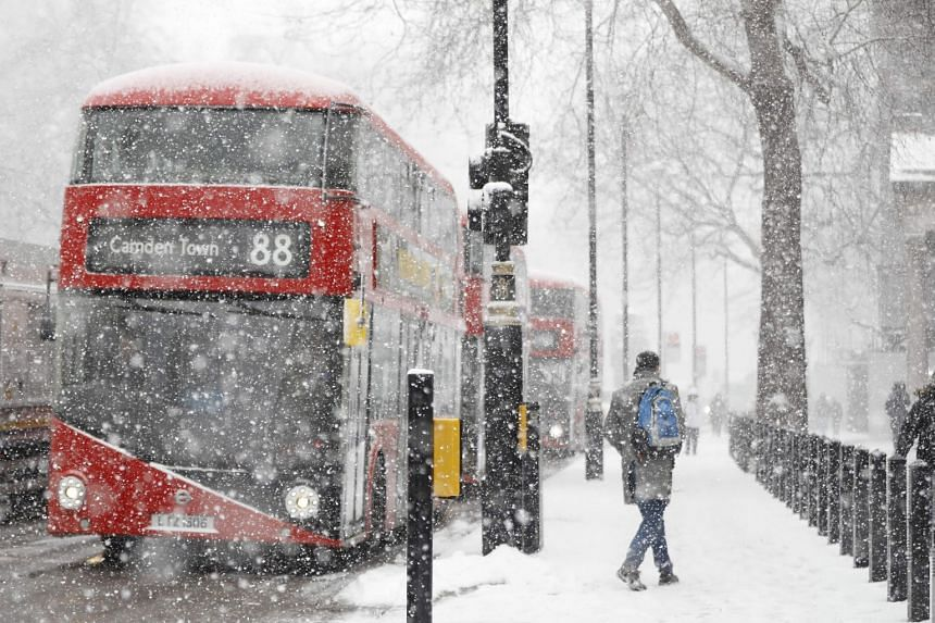 A blizzard in central London on Feb 28, 2018.