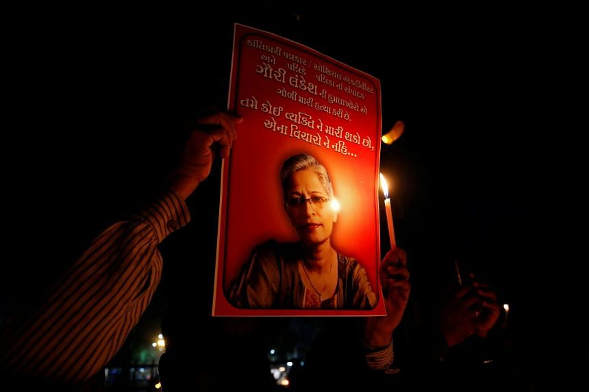 Gauri Lankesh, the editor and publisher of Gauri Lankesh Patrike, was shot dead outside her home in the southern state of Karnataka's capital Bengaluru on Sept 5, 2017.