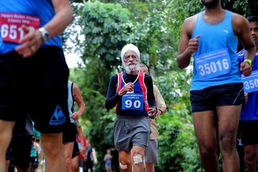 Former Olympian Ajit Singh, 89, takes part in the Singapore Masters Athletics X-Country Run/Walk at MacRitchie Reservoir on March 2, 2018.
