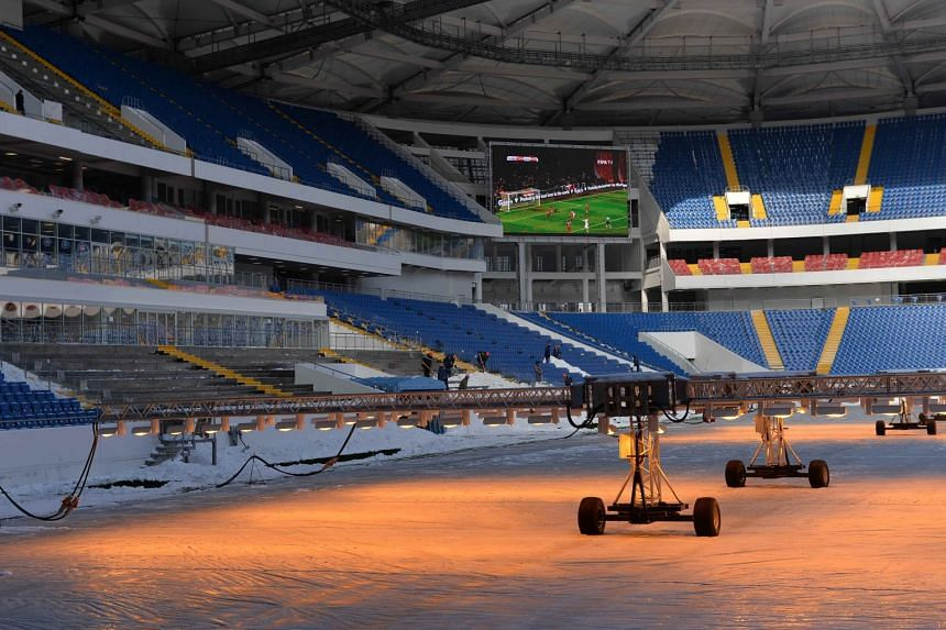The Rostov Arena stadium, where matches of the 2018 Fifa World Cup will be hosted, is pictured under construction in Rostov-on-Don, Russia, on March 2, 2018.