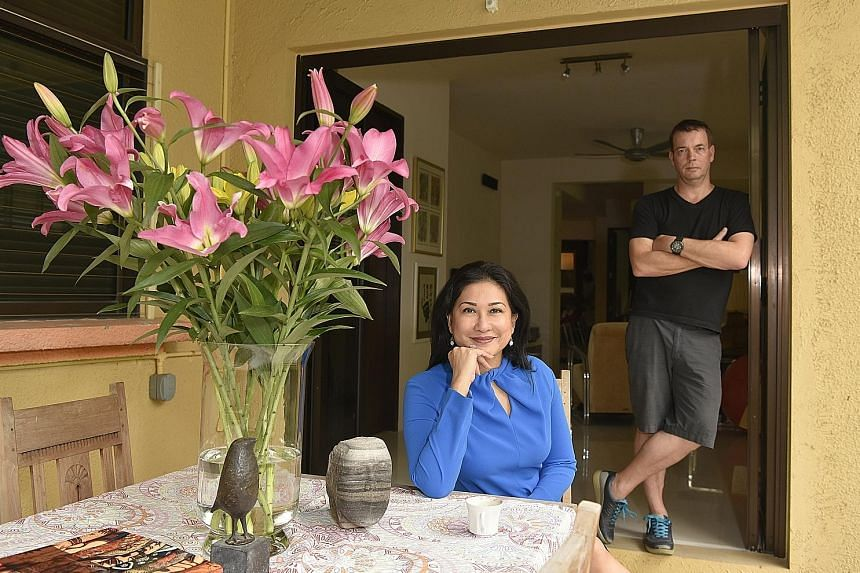 Ms Yasmin Jonkers, host of The Breakfast Huddle on Money FM 89.3, and her husband, offshore operations manager Thomas Jonkers, in their ground floor, freehold apartment in Joo Chiat. They bought the 1,206 sq ft apartment in 2010 for $863,000.