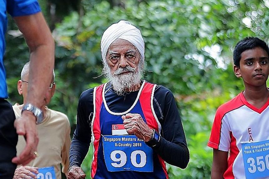 Ajit Singh, wearing a bib with his impending age 90 on it, clocked 29 minutes for the 3,000m race walking event at the Singapore Masters Athletics X-Country Run/Walk meet yesterday. He represented Singapore in hockey at the 1956 Melbourne Olympic Gam