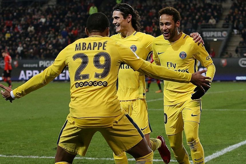Football fans in Singapore may have a chance to catch the famed MCN attack of (from left) Kylian Mbappe, Edinson Cavani and Neymar in action should Paris Saint-Germain sign up for the International Champions Cup.