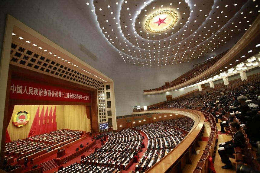 A general view of the opening of the 1st Session of the 13th Chinese People's Political Consultative Conference National Committee at Beijing's Great Hall of the People on March 3, 2018.