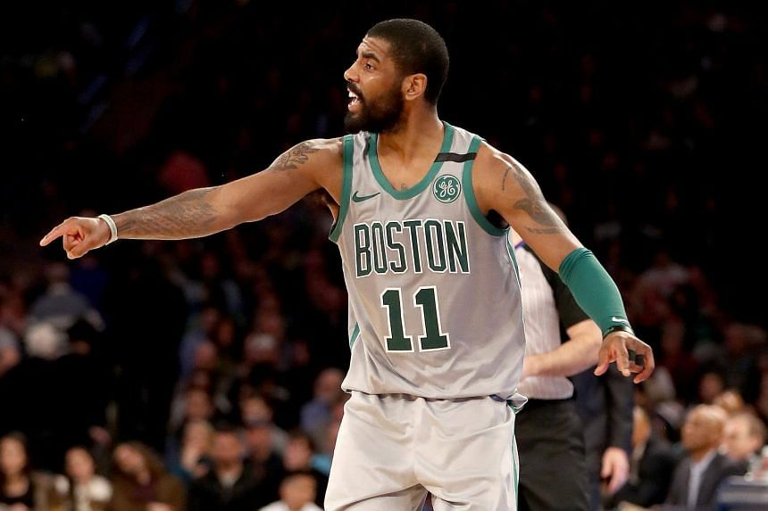 Kyrie Irving of the Boston Celtics directs his teammates in the second half against the New York Knicks at Madison Square Garden in New York City, on Feb 24, 2018.