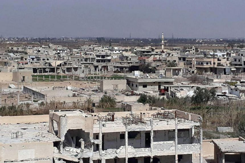 A general view of the destruction in the town of Al-Nashabiyah in the besieged Eastern Ghouta region outside Syria's capital Damascus.