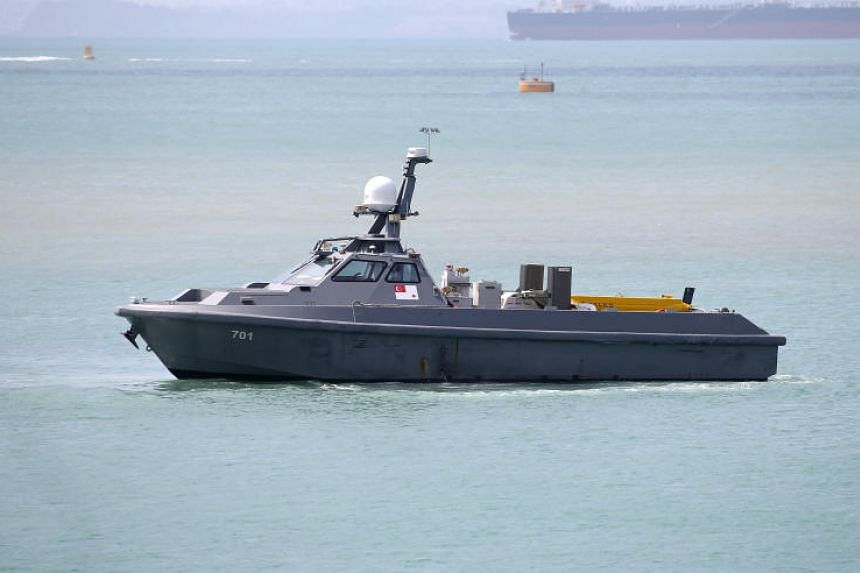 The unmanned surface vessel (USV) takes about six minutes to deploy sonar equipment, with two operators controlling the ship remotely.