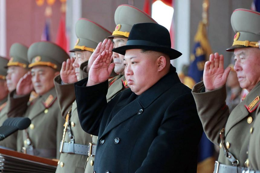 North Korean leader Kim Jong Un attending a military parade to mark the 70th anniversary of the Korean People's Army.