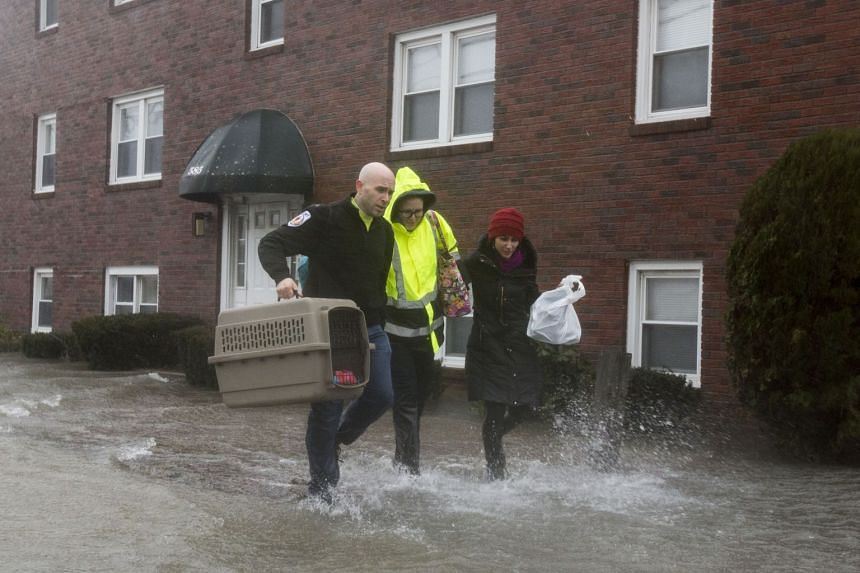 A rescue worker helps carry a rescued animal away from a flooded apartment building in Quincy, Massachusetts.
