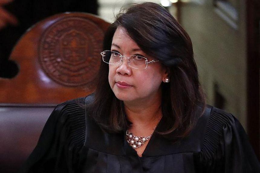 Filipino Chief Justice Maria Lourdes Sereno presides over a hearing at the Supreme Court in Manila, Philippines on Nov 28, 2017.