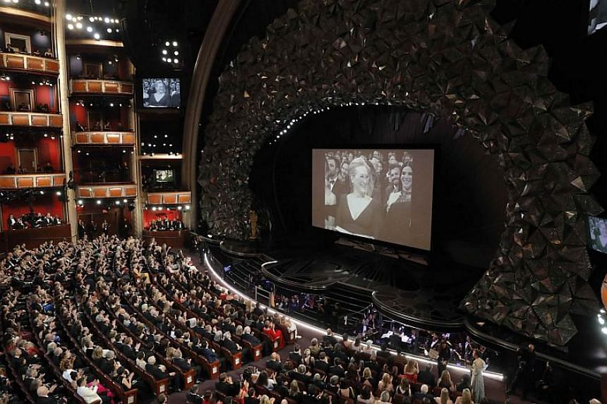Meryl Streep appears on screen at the 90th Academy Awards held at the Dolby Theatre in Hollywood, California on March 4, 2018.