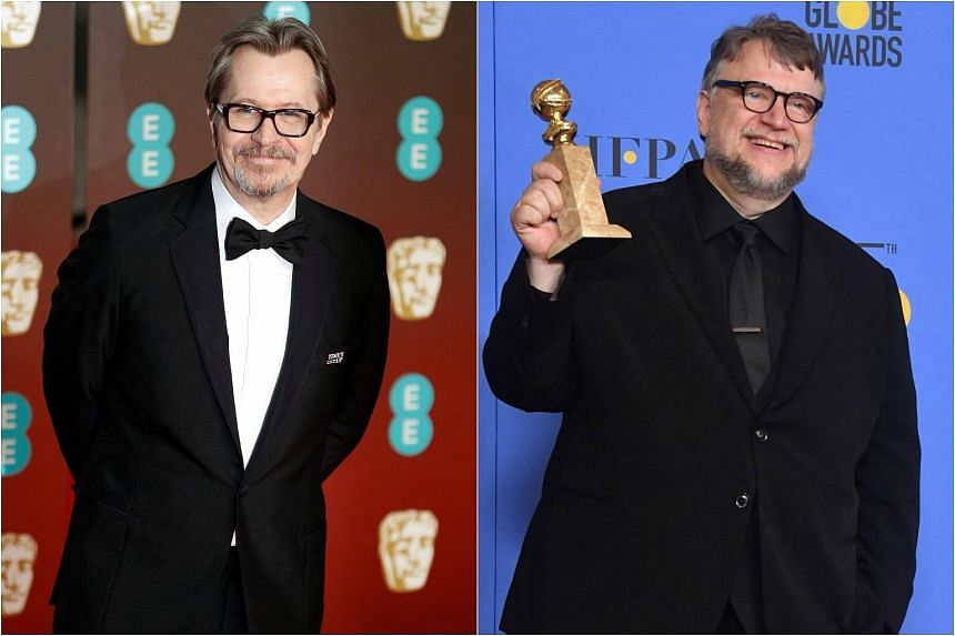 Gary Oldman (left) won Best Lead Actor for his role as Winston Churchill in Darkest Hour, and Guillermo del Toro won Best Director for The Shape Of Water.