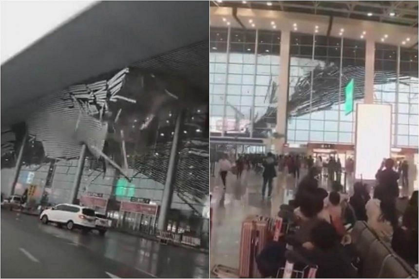 Videos shared on Chinese social media platforms show the ceiling being ripped apart, with large metal pieces raining onto cars as they scrambled to get away.