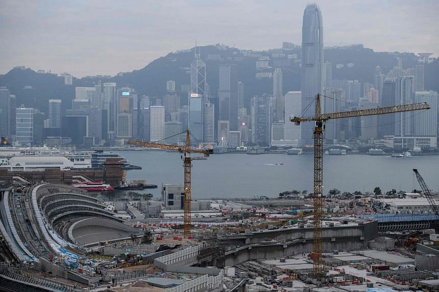 A construction site seen with Hong Kong's skyline in the background on Dec 27, 2017.