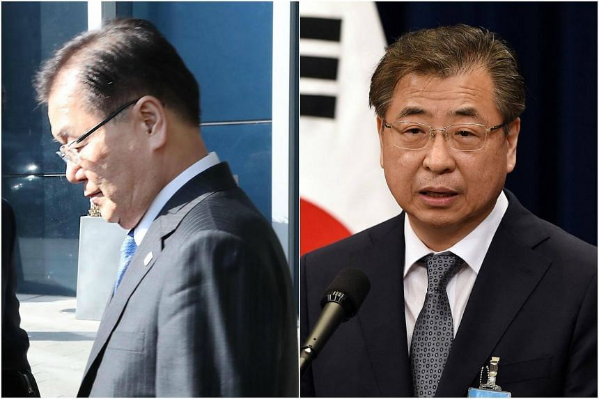 """Led by National Security Office head Chung Eui Yong and National Intelligence Service chief Suh Hoon, the team planned to discuss US-North Korean talks """"aimed at denuclearisation"""" and inter-Korean relations."""