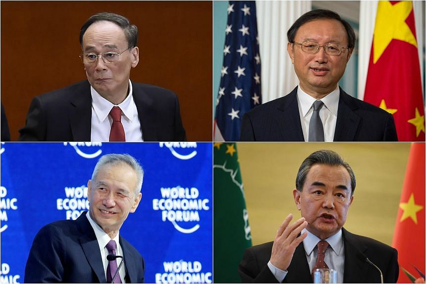 Chinese officials who are expected to hold key government positions (clockwise from top left): Wang Qishan, Yang Jiechi, Wang Yi and Liu He.