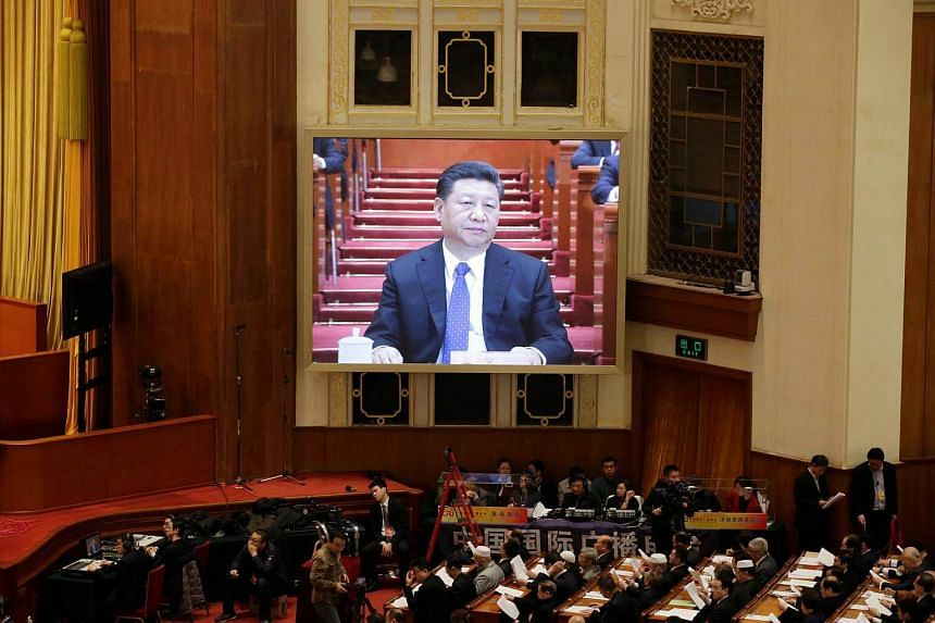 Chinese President Xi Jinping at the opening session of the Chinese People's Political Consultative Conference at the Great Hall of the People in Beijing, on March 3, 2018.