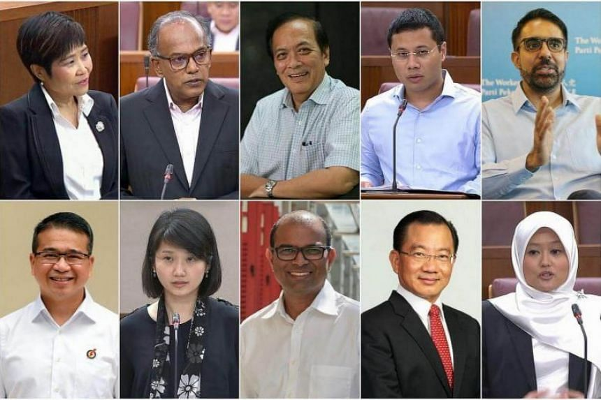 The Select Committee tackling the threat of fake news will be chaired by Charles Chong (top row, centre) and consists of (clockwise from top left) Chia Yong Yong, K. Shanmugam, Desmond Lee, Pritam Singh, Rahayu Mahzam, Seah Kian Peng, Janil Puthuchea