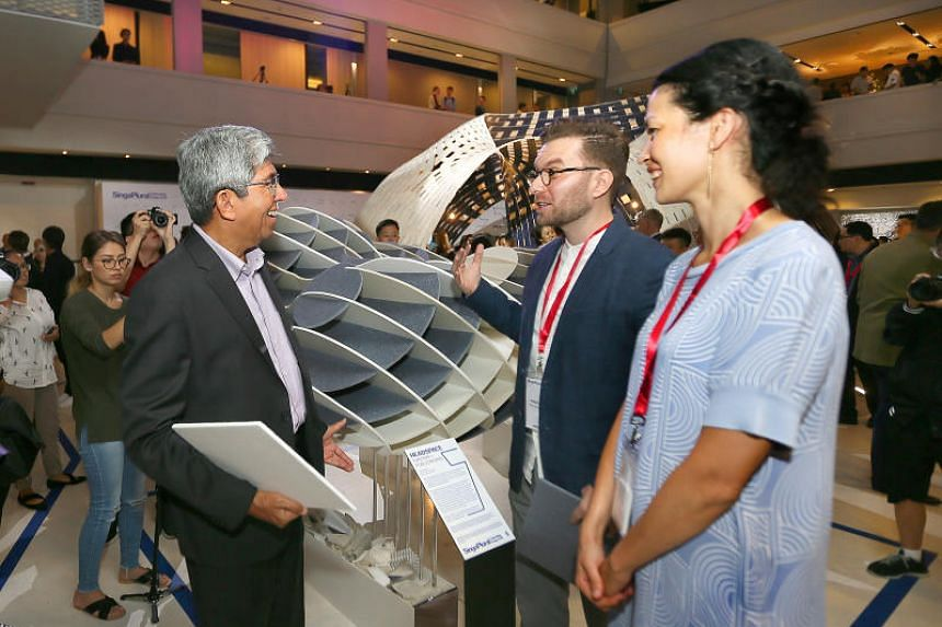 Dr Yaacob Ibrahim talks  to Publicworks' Razvan Ghilic-Micu, and Kvadrat's Melissa Liu Poulsen about the installation Headspace at the Singapore Design Week on March 5, 2018.