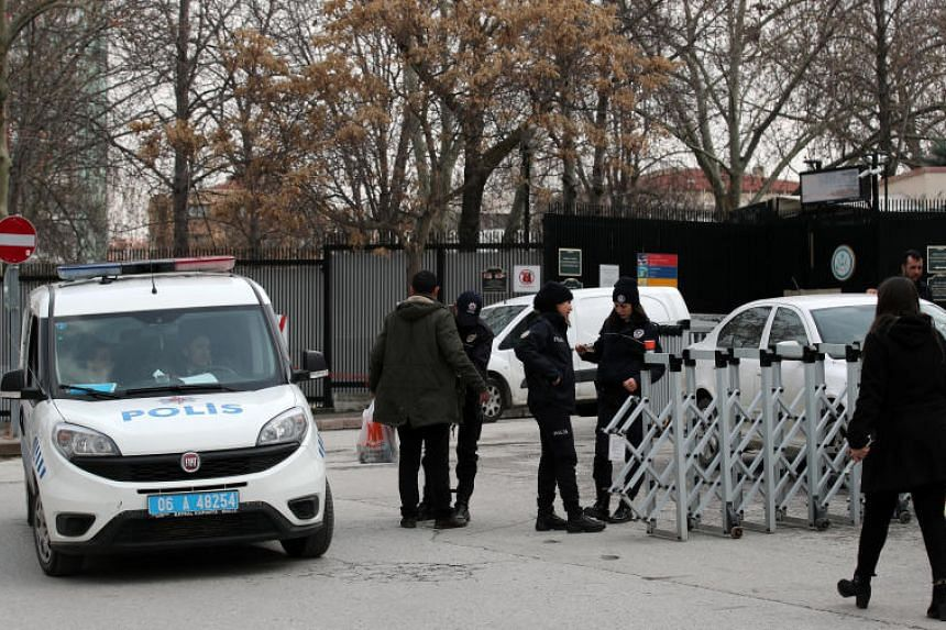 Riot police secure the roads around US Embassy in Ankara, Turkey, on March 5, 2018.