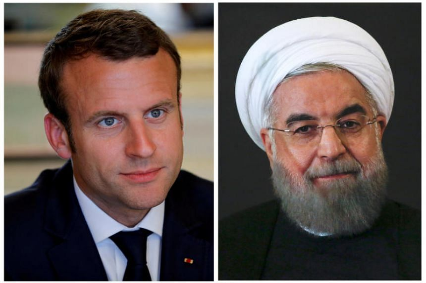 French President Emmanuel Macron attending a meeting at the Elysee Palace in Paris, France, May 23, 2017, and Iran President Hassan Rouhani looking on at the Campidoglio palace in Rome, Italy, Jan 25, 2016.