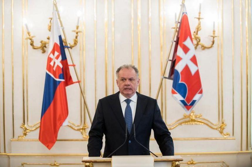 The President of Slovakia Andrej Kiska at a press conference on the murder of Slovak journalist Jan Kuciak and his fiance Martina Kusnirova in Bratislava, Slovakia, on March 4, 2018.