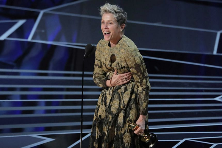Frances McDormand wins the Best Actress award for Three Billboards Outside Ebbing, Missouri at the Academy Awards on March 5, 2018.
